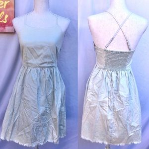 Old Navy chambray smocked x back short dress